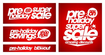 Pre-holiday super sale banners set, holidays savings