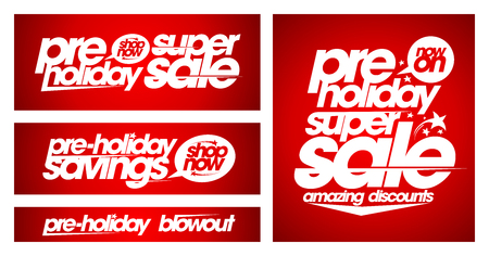Pre-holiday super sale banners set, holidays savings