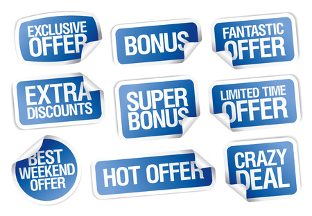 Sale stickers set -crazy deal, hot offer, bonus, weekend offer etc.