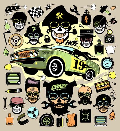 Set of fashion icons and symbols with race car, hipster skulls, music symbols etc.