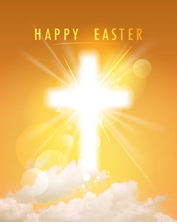 Happy Easter religious card, shining cross and sky Vectores