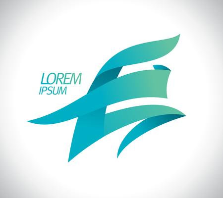 Art letter E logo concept on plain presentation.
