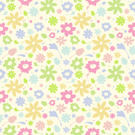 Cute seamless floral pattern, yellow vector background.