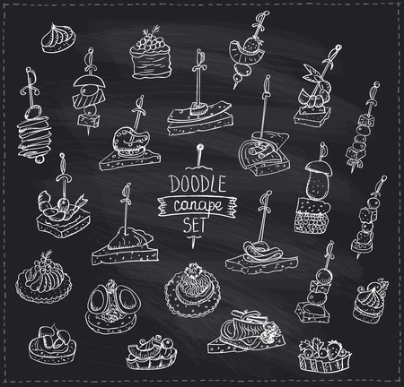 Chalk hand drawn graphic doodle illustration of canapes and sandwiches