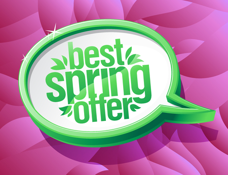 Best spring offer speech bubble 3d illustration