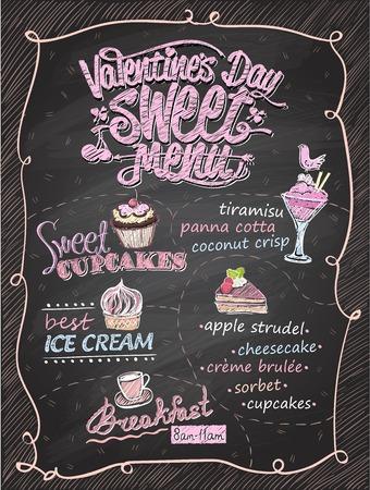 バレンタインデー甘いメニュー黒板デザイン手描きイラスト  イラスト・ベクター素材