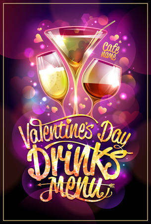 Valentines day drinks menu design with cocktails against disco sparkles