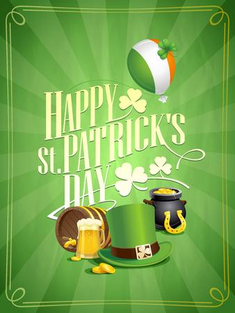 Happy Patricks Day postcard vector design