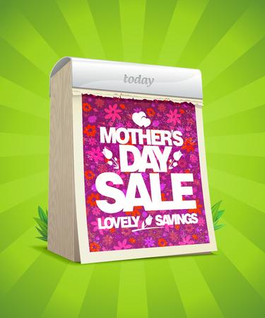 Mothers day sale banner design with tear-off calendar, lovely savings. Illustration