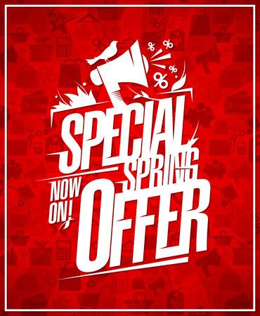 Special spring offer vector poster design, spring sale concept