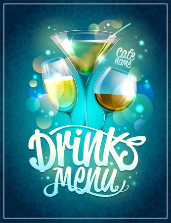 Drinks menu design with cocktails against disco sparkles