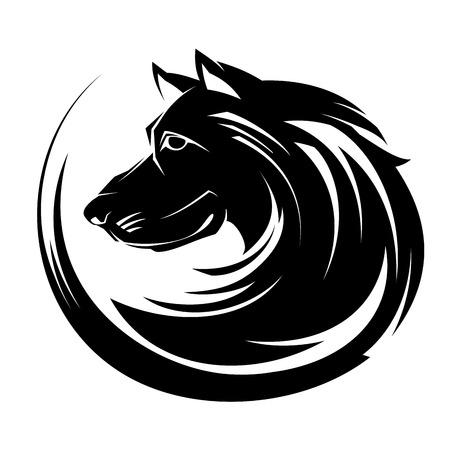 Portrait de profil de chien illustartion, cercle tatouage tribal art