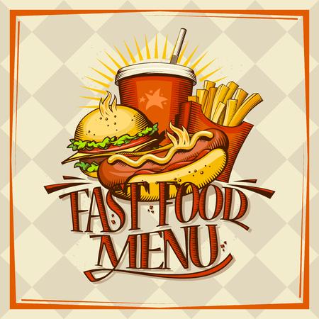 Fast food menu design concept. Hot dog, hamburger, french fries and drink vector illustration