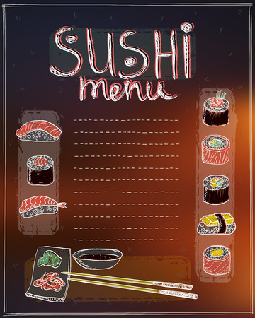 Sushi menu list hand drawn vector illustration Illustration