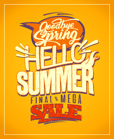 Hello summer, good bye spring. New summer collections ad banner, spring collections sale