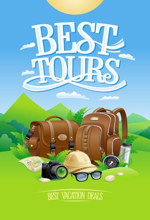 Best tours design concept with mountain landscape background and touristic stuffs against it Illustration