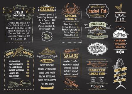 Fish menu chalkboard desigs set, hand drawn graphic illustration