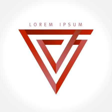 Geometric V letter triangle logo concept 向量圖像
