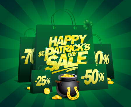 Patricks day sale vector poster concept with shopping bags and golden title