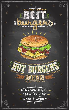 Best burgers chalkboard menu, fast food menu design concept. Stock Illustratie