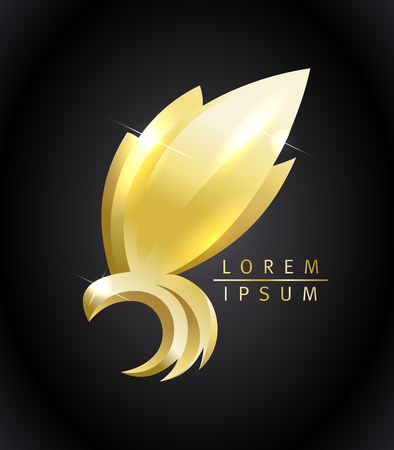 Golden flying bird vector icon concept. Çizim