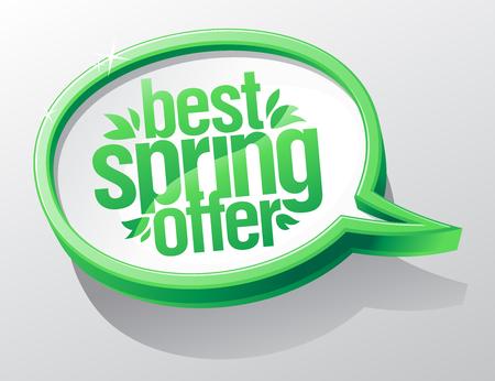 Best spring offer, sale speech bubble vector concept.