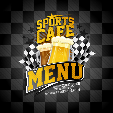 Sports cafe menu card design, beer mugs and checkered flags. Stockfoto - 98761238
