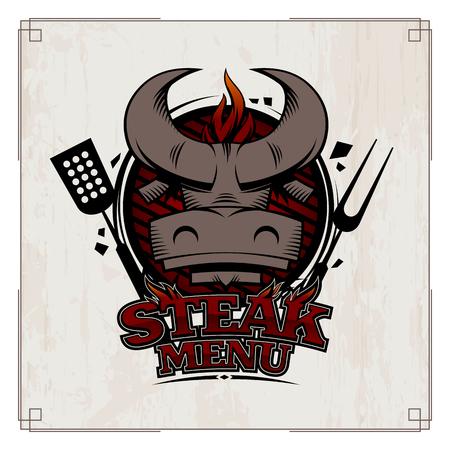 Steak menu card design concept with bull head. Stock Illustratie