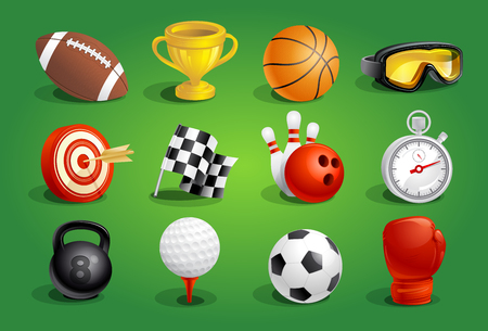 Sport objects symbols and icons vector set.