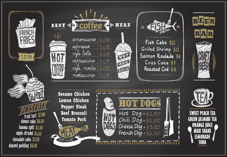 Tiza en un diseño de menú de pizarra para cafetería o restaurante. Menú de postres, menú de pescado, té, menú de café, perritos calientes, bar de cerveza, ilustración gráfica dibujada a mano.