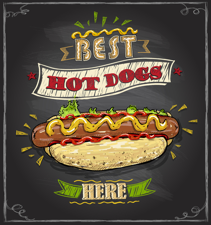 Best hot dogs here chalkboard menu design concept Illustration