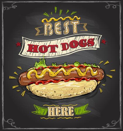 Los mejores perros calientes aquí concepto de diseño de menú de pizarra