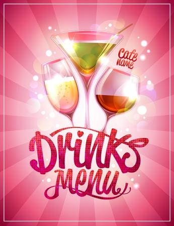 Drinks menu cover design with cocktails against pink backdrop