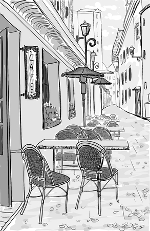 Street cafe in old town hand drawn sketch illustration, sepia vintage style Foto de archivo - 100969623