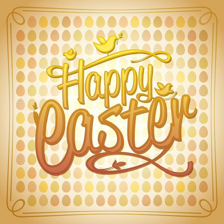 Happy Easter card with colored eggs on a backdrop Archivio Fotografico - 100969626