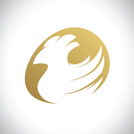 Chicken and golden egg farm vector logo design concept Illustration