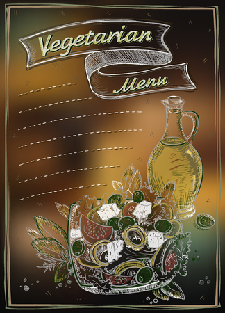 Vegetarian menu list with copy space for text, hand drawn graphic vector illustration, greek salad and olive oil