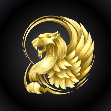 Golden heraldic Griffin vector illustration on a black background