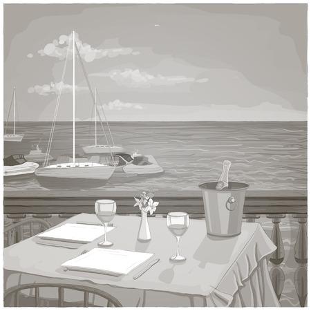 海の風景、黒と白に対して2人のための提供レストランテーブルとグラフィックイラスト