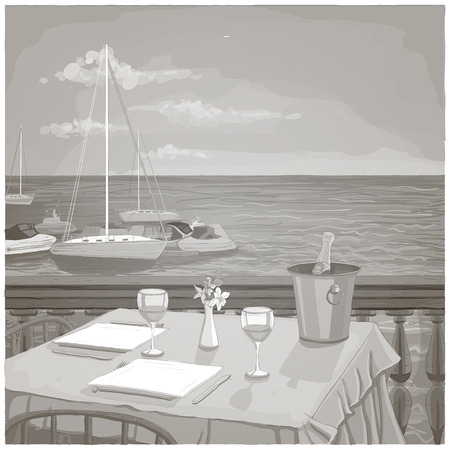 Graphic illustration with served restaurant table for two against ocean landscape, black and white Illustration
