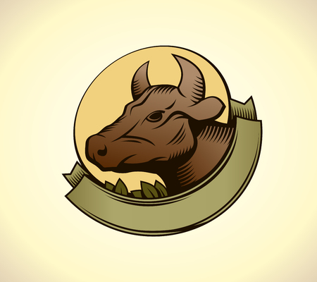 Cows head with ribbon logotype concept, copy space for text Illustration