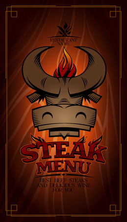 Steak menu card design with cow head and fire flame