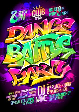 Dance battle party poster concept, vector illustration