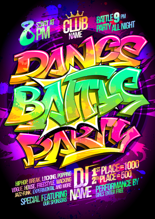 Dance battle party poster concept, vector illustration