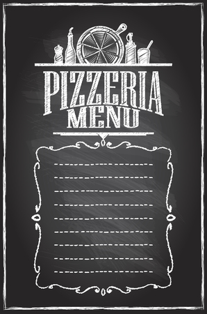 Pizzeria menu chalkboard menu list, copy space for text Ilustracja