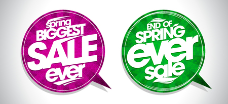 Spring biggest sale ever and end of spring ever sale speech bubbles vector set
