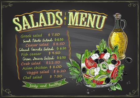 Salads menu chalkboard design concept, hand drawn illustration with greek salad and olive oil