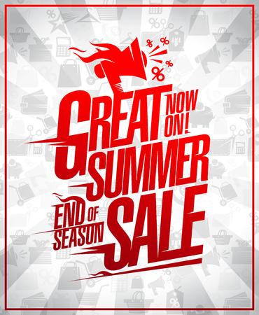 Great summer sale end of season discounts vector poster concept Archivio Fotografico - 100303484