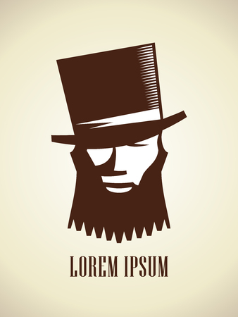 Hipster man with a beard and mustache dressed in a hat, vector logo concept