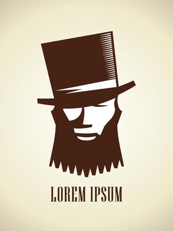 Hombre hipster con barba y bigote vestido con un sombrero, concepto de logotipo vectorial Logos